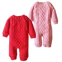 Newborn Crochet Outfits Baby Boy Girl Fleece Romper Toddler Solid Color Knit Romper Baby Christmas Warm