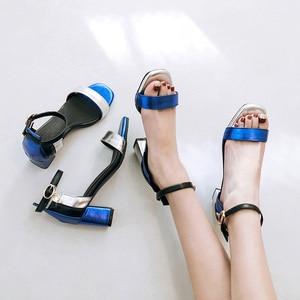 Image 5 - Phoentin sandales à bride à cheville pour femmes, chaussures dété, bout carré, couleur mixte, grande taille, FT260, 2019