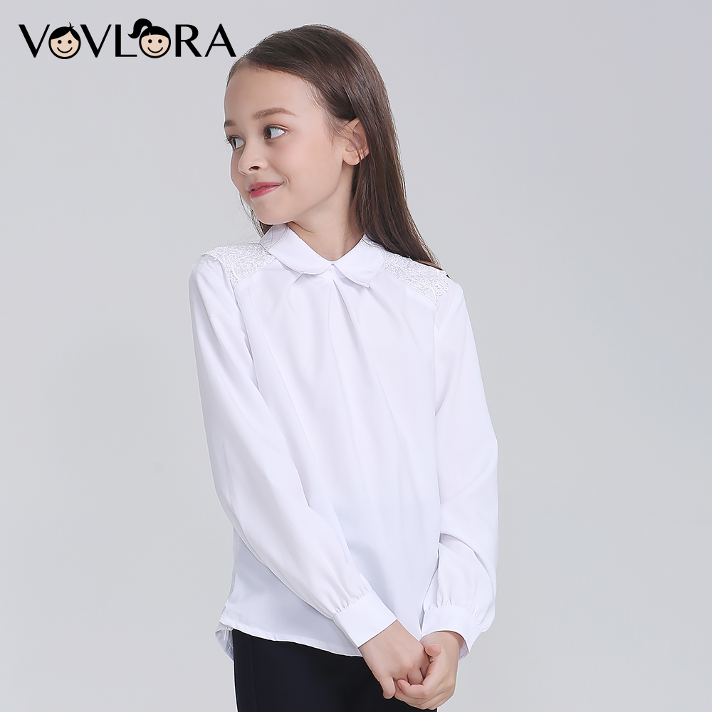 746f48552c4fc US $43.99 |Vovlora White Girls Shirts Long Sleeve School Kids Blouse Lace  Autumn Casual Children Clothes 2018 Size 9 10 11 12 13 14 Year-in Blouses &  ...