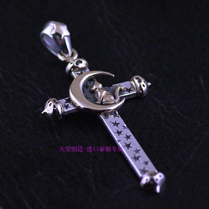 цена 925 Sterling Silver Sterling NEW genuine new silver-copper mash moon and cat cross pendant