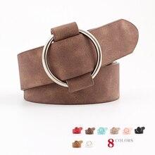 Luxury Belts For Women Metal Ring Waist Belt PU Woman Belt For Jeans WB063