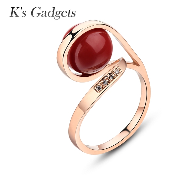 Unique Design Ring For Female Wedding With Red Artificial Coral