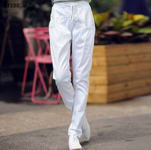 Women's Harem Jeans Drawstring waist Regular Jeans Women Pencil Pants Ladies Denim Trousers Black White Red Green Blue(China)