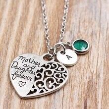 Collar de amor para siempre para madre e hija/collares con letras de A Z/collar con colgante de piedra de nacimiento personalizado/regalo para madre e hija