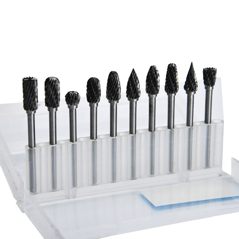 10Pcs Tungsten Carbide Burrs Milling Cutter Rotary Tool Steel Solid Burrs Kit Drill Bit Set Abrasive Tools