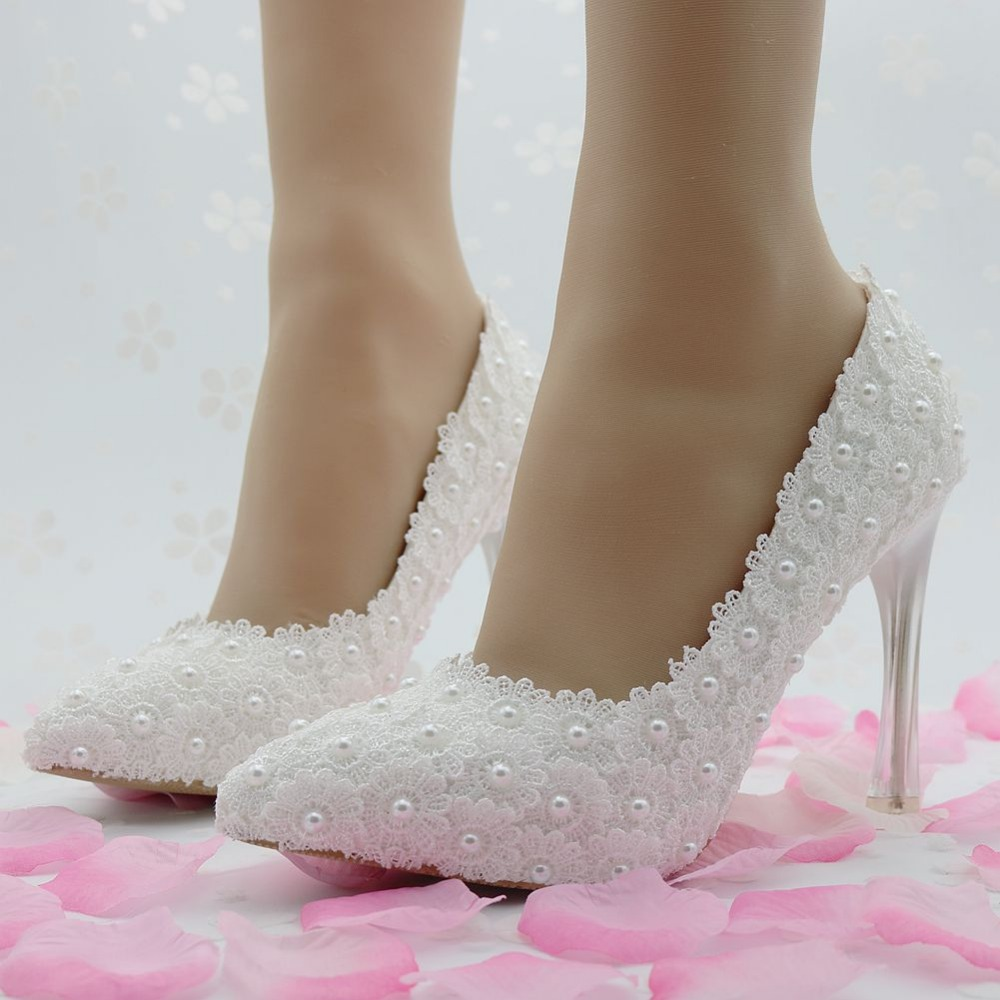 Mince Perles Talons Blanc Pompes White Chaussures Color Mode Les De Dentelle Pour Bout Femmes Pointu Mariage wgOdR8q