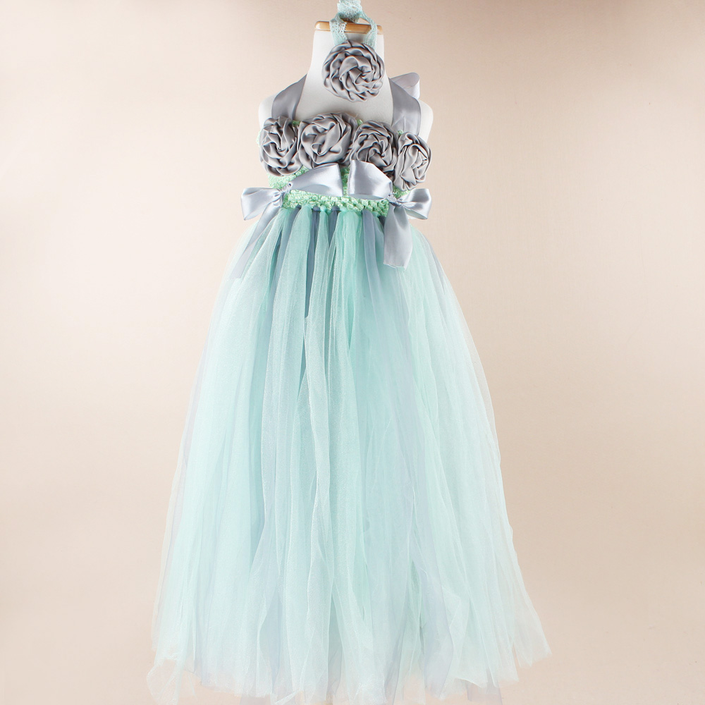 Mint Green And Gray Couture Wedding Flower Girl Tutu Dress Baby