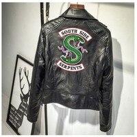 BTS Print Logo Southside Riverdale Serpents Pink/Black PU Leather Jackets Women Riverdale Serpents Streetwear Leather Brand Coat
