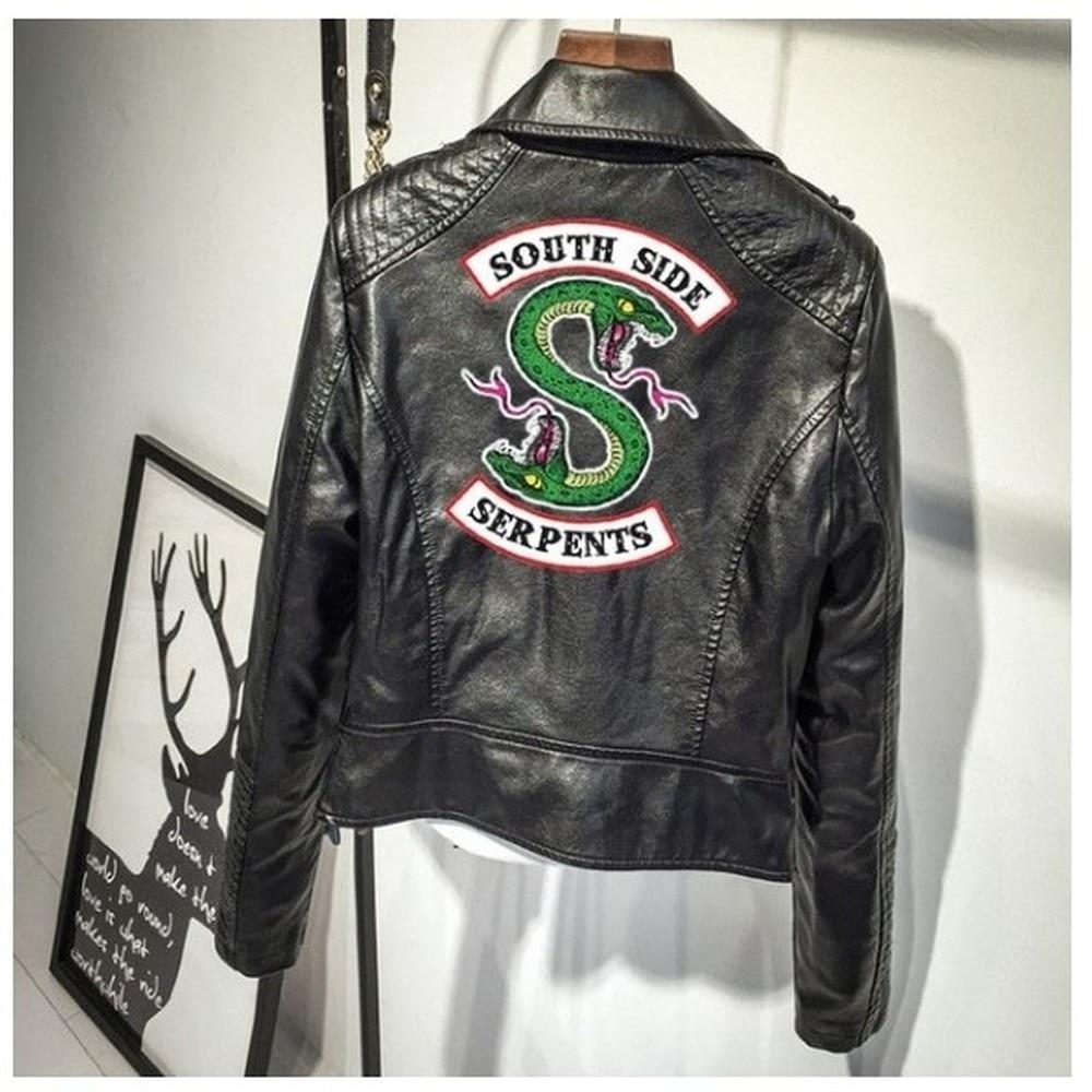 BTS imprimir el logotipo Sur Riverdale serpientes rosa/Negro PU chaquetas de cuero de las mujeres Riverdale serpientes Streetwear de marca de cuero de abrigo