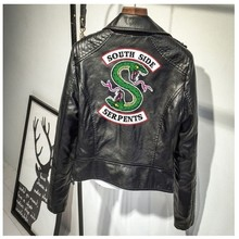Print Logo Southside Riverdale Serpents Pink/Black PU Leather Jackets Women Streetwear Brand Coat
