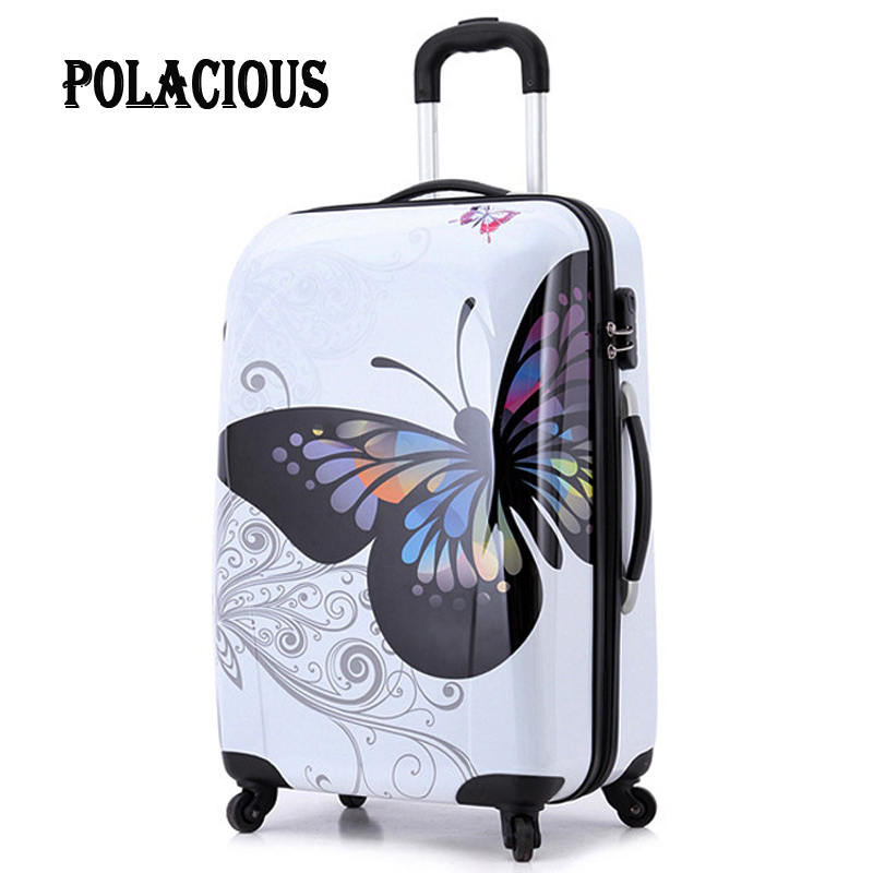 20 24amazing hot sales women butterfly ABS trolley suitcase luggage/ suitcase on wheels/ Vintage design boarding trolley bags