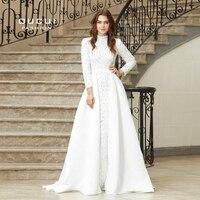 High Neck Long Sleeves Muslim New Vestido De Festa Elegant Full Beaded Long Prom Evening Dress