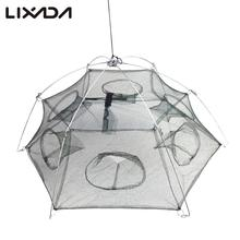 6 Side 6 Holes 100X100cm Fishing Net Small Mesh Nylon Folded Fishing Net Cage Catch Fish Minnow Trap Cast Shrimp Net Cage
