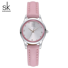 SK New Design Fashion Ladies Watches Elegant Rhinestone Female Quartz Watch Women Thin Leather Strap Waterproof