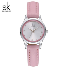SK New Design Fashion Ladies Watches Elegant Rhinestone Female Quartz Watch Women Thin Leather Strap Waterproof Montre Femme 008