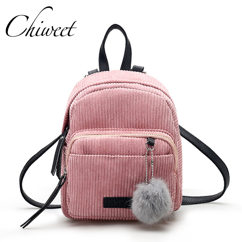 Women Pink Cute Mini Backpack Korean Designer Vintage Teenager Bag Velvet Small Backpacks For Girls Plush Ball Female Travel Bag