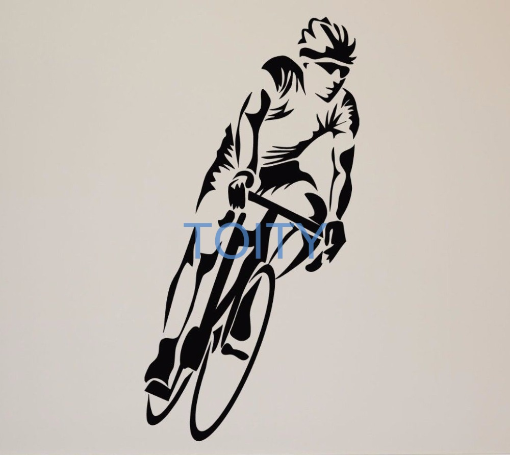 Bicycle Rider Wall Sticker Bike Sport Vinyl Decal Room Decor Art Mural H100cm x W50cm