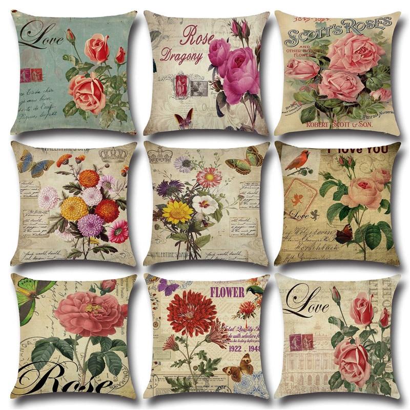 Vintage Flower Cotton Linen Throw Pillow Case Cushion Cover Car Sofa Decorative Flower Pillow Cove Pillowcase Home Decoration