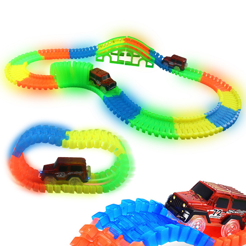 DIY Tracks Car Set with Bend Flex serpentine technology Glow in The Dark Track LED race Car Tunnel Bridge Puzzle Toys Kids Gift