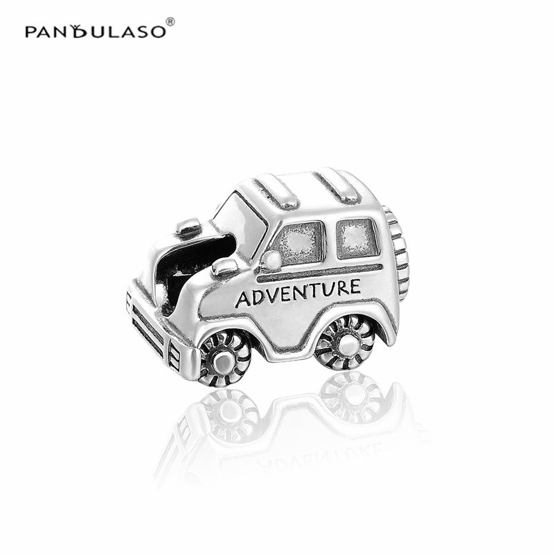 Pandulaso Adventure Car Silver 925 Travel Beads for Women DIY Jewelry Fit Charms Bracelets & Bangles Sterling-Silver-Jewelry pandulaso pure 925 sterling silver jewelry findings sparking safety with logo beads fits charms bracelet women diy jewelry