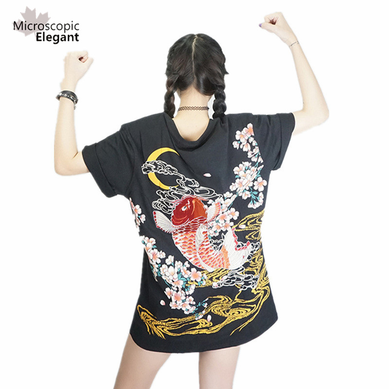 Punk funk rock t-shirt harajuku 2018 Japan YOKOSUKA stickerei drachen und koi baseball uniform unisex mode vintage shirt