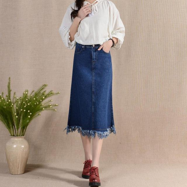 Aliexpress.com : Buy blue denim midi skirt with tassels 2017 ...