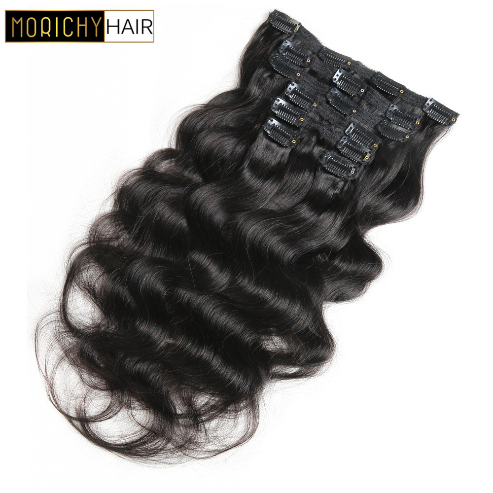 Morichy Brazilian Hair Body Wave Clip Ins Human Hair Extensions Full Head 7Pcs/Set 12-20inch 1# 1B# 2# Color For Woman