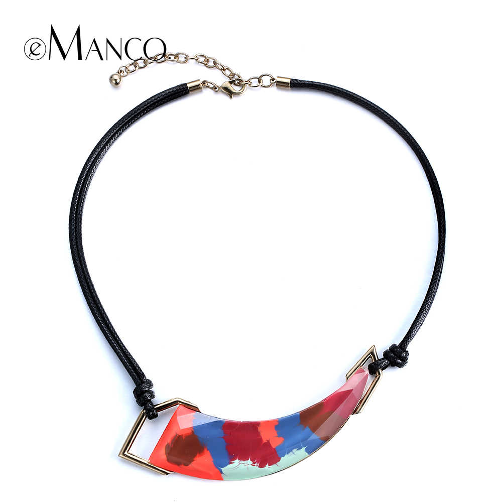 eManco Geometric resin painted necklace black rope chokers necklaces new women trendy enamel statement necklace