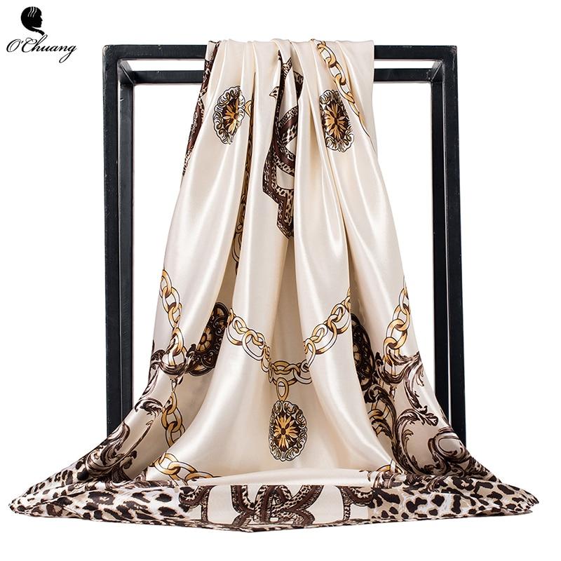 O CHUANG Leopard Scarf Women Silk Shawl Fashion Square Foulard Satin Sjaal Bandana Handkerchief Big Size 90*90cm Head Scarves