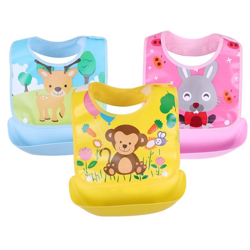 Detachable Baby Bibs Waterproof Baby Toddler Kids Aprons Bib Infant Saliva Towels Cute Baby Cartoon Feeding Bib