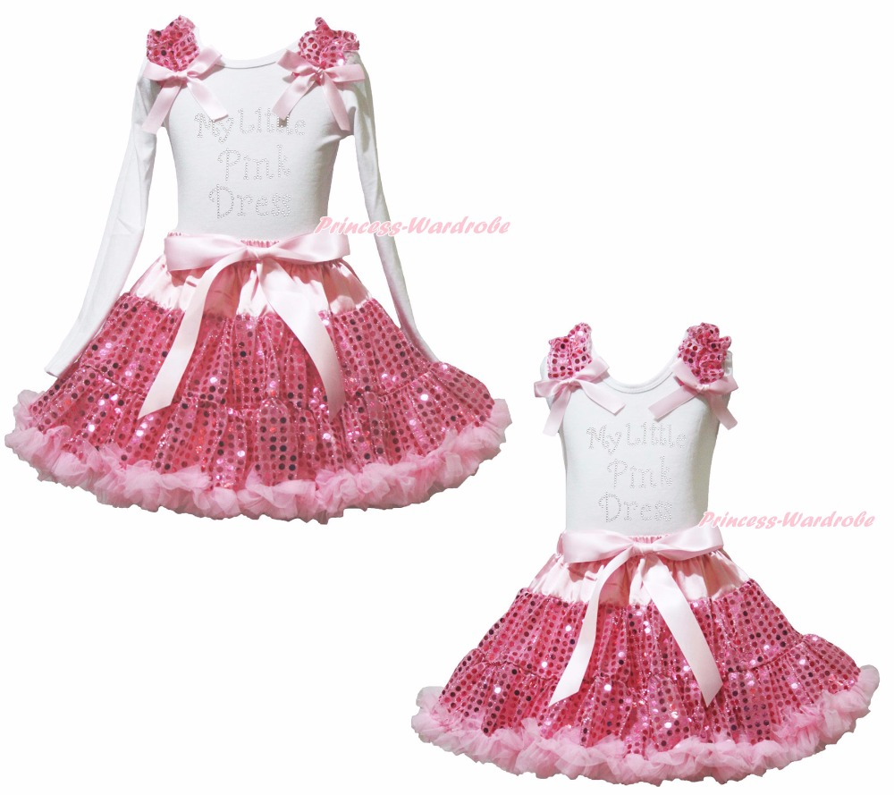 My Little Pink Dress White Top Girl Pink Sequin Skirt Outfit Set 1-8Year valentine daddy main squeeze white top pink floral girl skirt outfit set 1 8year