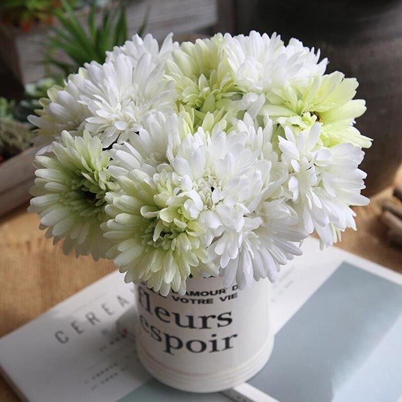 Handmade Gerbera Wedding Artificial Flower Silk Fake Daisy Bouquet Bridal Home