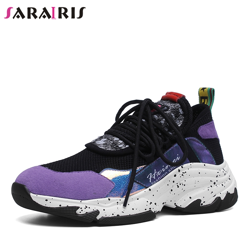 SARAIRIS 2019 New INS Hot Summer Genuine   Leather     Suede   Sneakers Girl Horsehair Decoration Casual Shoes For Ladies Shoes Woman