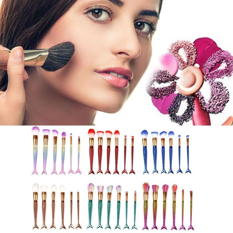 6pcs/set Cosmetic Makeup Brush Foundation Blusher Face Fish Mermaid Tail 6pcs set cosmetic tools makeup brush foundation blusher face fish mermaid