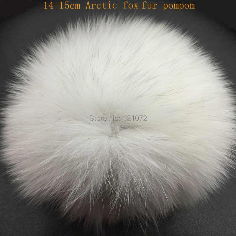 FAI DA TE 14-15 centimetri grande Pelliccia di Volpe pompon palle di Pelo per lavorato a maglia della protezione del cappello di inverno berretti e portachiavi e sciarpe reale della pelliccia di Fox pom poms