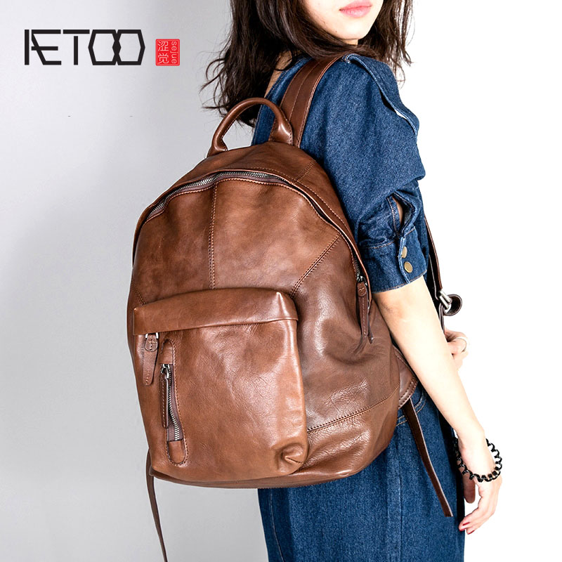 AETOO Leather backpack first layer cowhide American retro men and women computer bag travel bag retro bag aetoo retro backpack men and women leather backpack leisure bag bags travel computer bags
