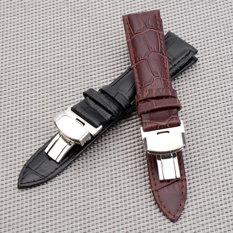 Business Casual Black Brown Genuine Calfskin Leather Watch band Strap Butterfly Buckle Crocodile Pattern Bracelet 18 20 22 24 mm survival nylon bracelet brown