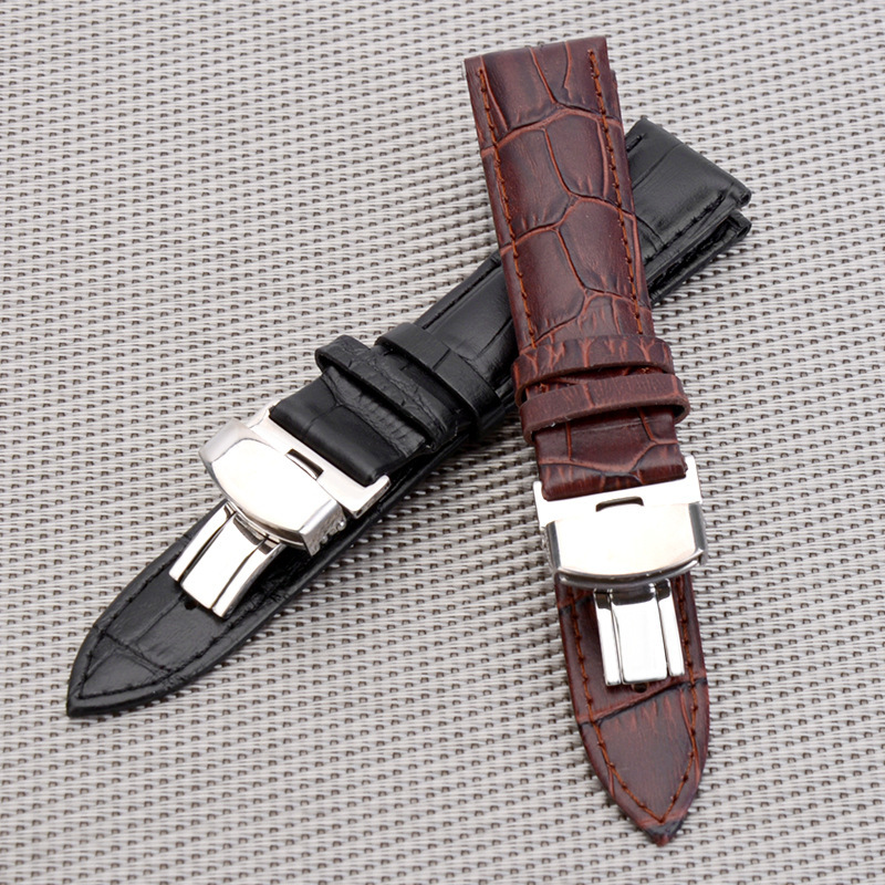 Business Casual Black Brown Genuine Calfskin Leather Watch band Strap Butterfly Buckle Crocodile Pattern Bracelet 18 20 22 24 mm