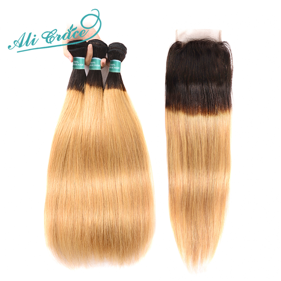 ALI GRACE Hair Brazilian Straight Hair With Closure 1B 27 Blonde Ombre Color 100 Human Hair