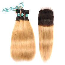 ALI GRACE Hair Brazilian Straight Hair With Closure 1B/27 Blonde Ombre