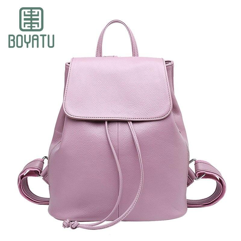 BOYATU Genuine Leather Backpack Female Rucksack Vintage Ladies Bagpack Simple Travel Bag Casual Women Schoolbags Brand