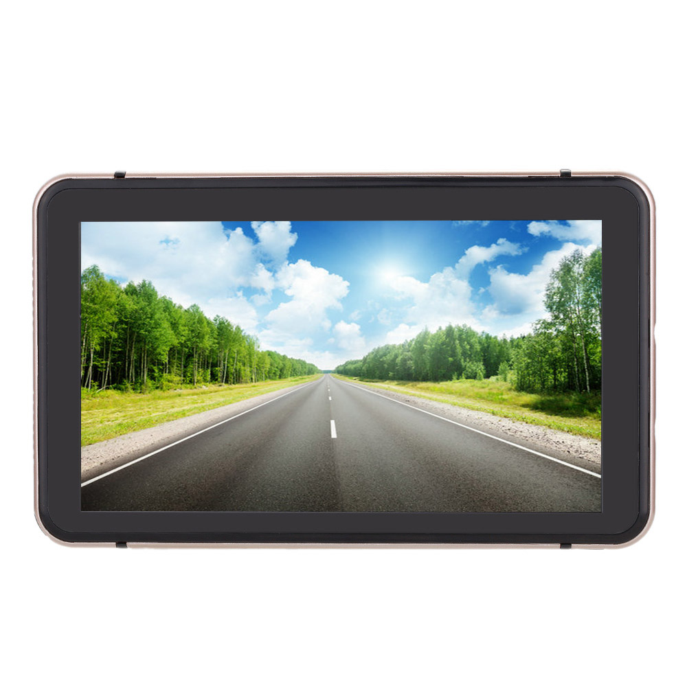KKmoon 7″ HD Touch Screen Portable Car GPS Navigation 128MB RAM 4GB FM Video Play Champagne Gold Car Navigator +Free Map