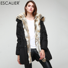 Escalier Womens Winter Down Jackets Black Long Parka Removable Raccoon Fur Hooded Real Fur Collar Warm Rabbit Duck Down Coat