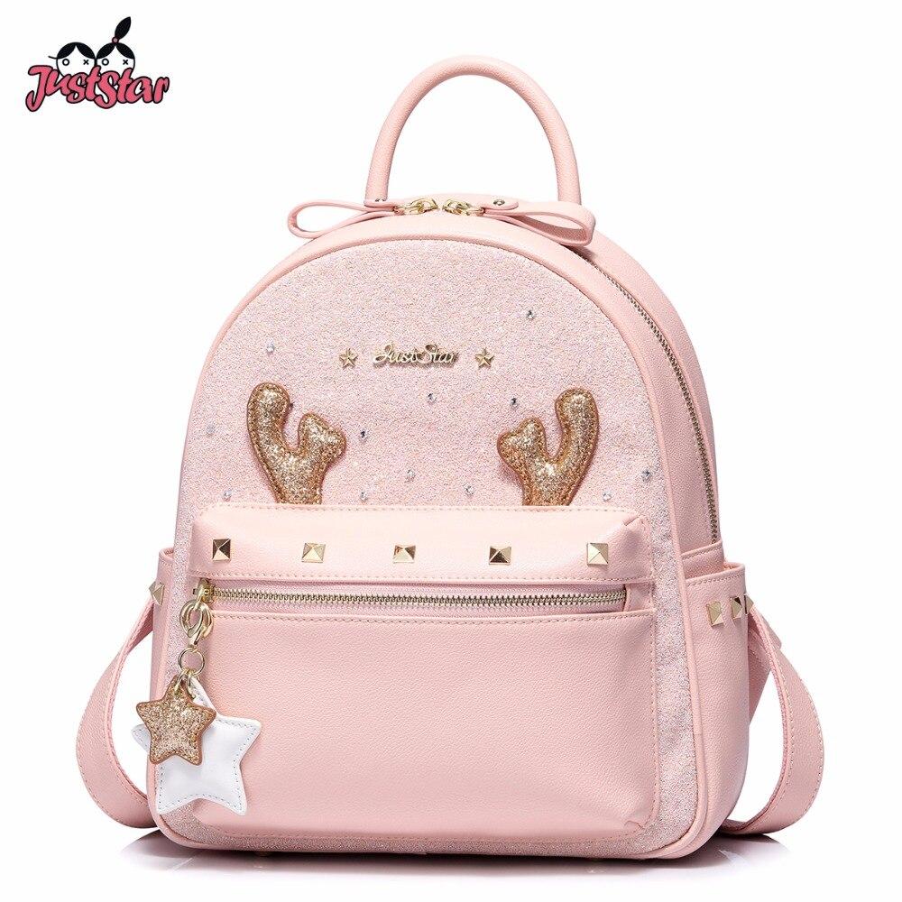 JUST STAR Brand Women's Leather Backpack Female Cartoon Deer Horn Tassel Double Shoulder Bags Ladies Rivet Travel Rucksack