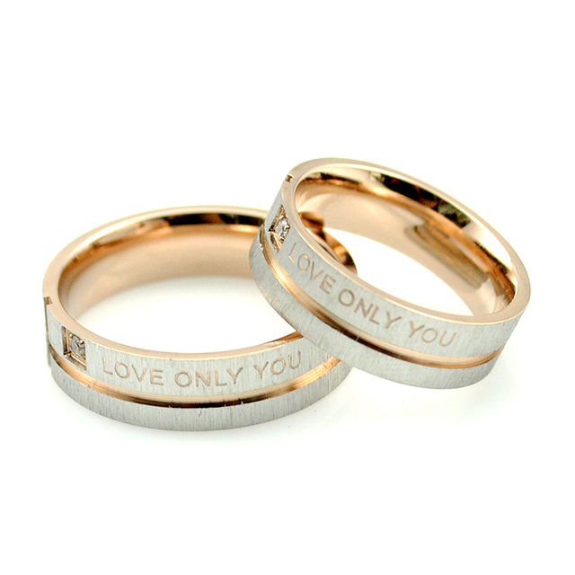 "AMUMIU 1 Piece ""Love Only You"" Rose Gold Color Couple Rings,Wedding Ring,Engagem"