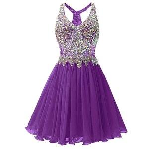 Image 5 - ANGELSBRIDEP v yaka mezuniyet elbiseleri seksi diz üstü kokteyl elbise moda artı boyutu kristal boncuklar Mini 8th sınıf parti törenlerinde