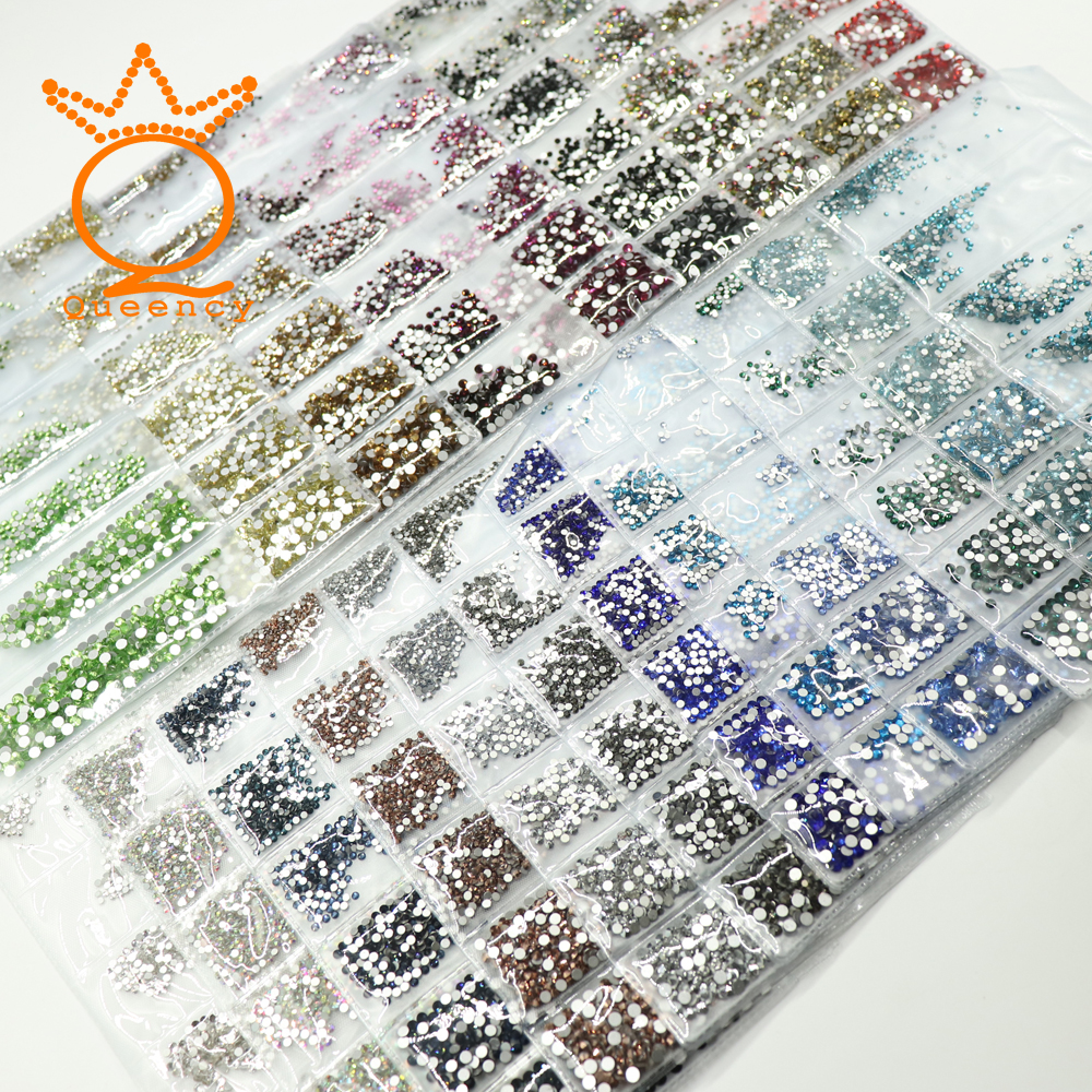 Hot 1728pcs Strass Nail Decoration Rhinestones Mixed Size Glitter Diamonds For Japan Nail Art Design Charm Glass Stones