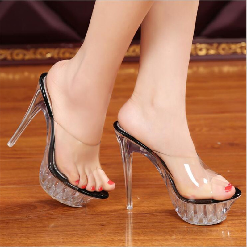 2adecd01cb5 Elegant Sandals Women 14cm Thin Heels zapatos mujer feminino Party Sandals  transparent Platforms slippers Ladies Banquet Shoes -in Women s Sandals  from .
