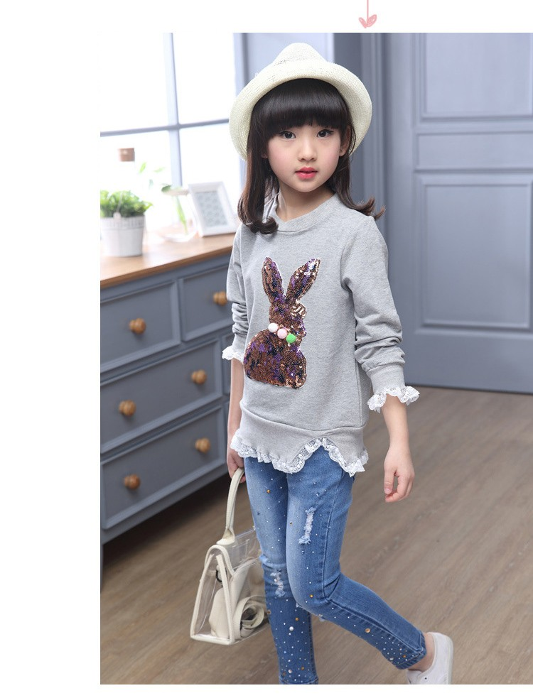 2016 new arrive sequined rebbit charatcer gray pink girls sweatshirt spring long sleeve kids clothes girls tops clothes 8 10 12 14 years girls clothing  6 7 8 9 10 11 12 13 14 15 16 children clothing (13)