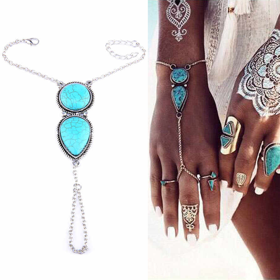 Blue Hot Bracelets 2018 New Fashion Best Punk Multi Bracelet Bangle Chain Link Interweave Finger Rings Drop Shipping JU03